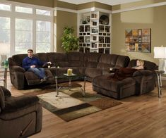 Simmons Upholstery Champ 4 Piece Reclining Sectional Loveseat with Consoles & Reclining Cuddler Chaise 50661