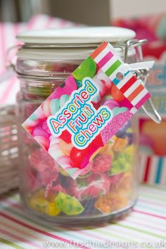 Assorted fruit chew sweets in glass Kilner jar. Part of the Fuschia Pic N Mix Candy Bar.  Perfect for weddings, mehndi, celebrations. Complete with sweetie bags, scoops, tags and signage! www.fuschiadesigns.co.uk