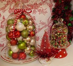Christmas Cloche & bottle brush in a teacup display
