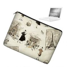 13 inch MacBook Sleeve Padded Case Bag Eiffel Tower Paris chic | JanineKingDesigns - Bags & Purses on ArtFire