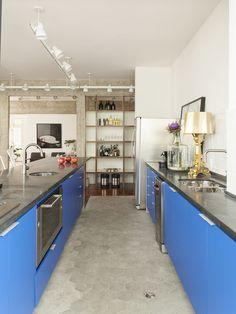 cozinha azul e cinza