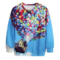 Colorful Ballon and Flying House Casual Digital Printing Male Mens No Hood Sweatshirt Factory Manufacturer Pullovers 2017 #Affiliate