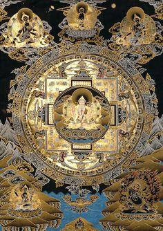"""amyipaguana: """" Chenrezig Mandala (Esoteric Black Thangka) http://www.thisisourstory.net/tapestry-of-life/ """""""