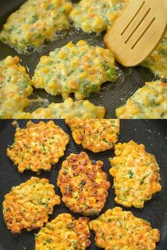 These easy Corn Fritters are sweet, delicate, and filling. They can be prepared with fresh, frozen, or canned corn. Vegetarian Recipes Videos, Easy Healthy Recipes, Mexican Food Recipes, Easy Meals, Cooking Recipes, Recipes Dinner, Easy Snacks, Easy Corn Fritters, Corn Fritter Recipes