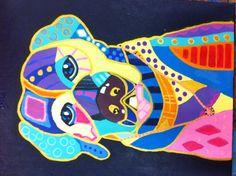Labrador geschilderd door Jolanda ( naar Heather Galler)