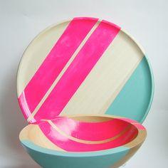 "Gorgeous wood plate, handpainted as well. Modern Neon Hardwood 10"" Dinner Plate, Pink. $45.00, via Etsy."