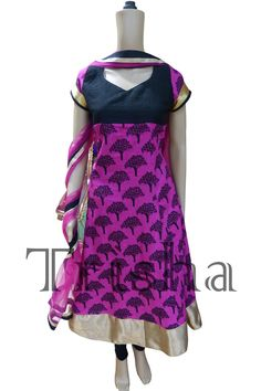 Pink & Black printed handloom fabric suit