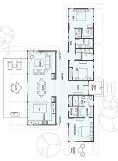 – Perfect for Art Collectors square feet 1 Story 3 Bedroom square feet 1 Story 3 Bedroom Bathroom New House Plans, Dream House Plans, Modern House Plans, Modern House Design, House Floor Plans, Dog Trot Floor Plans, Dog Trot House Plans, 5 Bedroom House Plans, House Dog