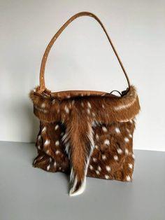 Axis Deer Skin with Tail all Leather Medium Shoulder Bag Custom Purses, Cowhide Purse, Deer Hide, Leopard Bag, Western Purses, Couture Bags, Craft Bags, Leather Gifts, Deer Skin