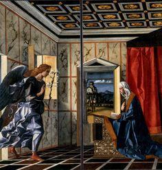 """""""ANUNCIAÇÃO"""" (1489), de Bellini - Item da soberba produção do artista vêneto Giovanni Bellini (c.1430-1516) reunida nas salas da Gallerie dell'Academia, em Veneza, este grande óleo sobre tela (2,25 m de altura) apresenta seccionamento vertical, provavelmente por ser um painel que se abria e fechava sobre um armário litúrgico ou um instrumento musical."""