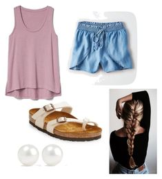 """French braid"" by skylarzwetzig on Polyvore featuring American Eagle Outfitters, Gap, Birkenstock and Kenneth Jay Lane"