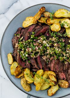 Grilled Flank Steak and Fingerlings with Chimichurri | Kitchen Confidante