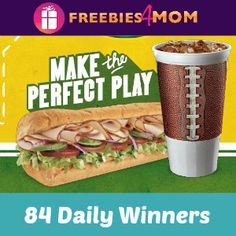 Enter daily for a chance to win the Subway Fourth and Footlong Sweepstakes. You can request a free code and it will be emailed to you (the email will Subway Bread, Subway Gift Card, Subway Nutrition, Gift Card Balance, Snack Recipes, Snacks, People, Folk