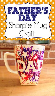 Check out this easy Father's Day sharpie mug kids craft. A super easy craft that will let your child make their own personalized gift for Father's Day. Fathers Day Gift Basket, Homemade Fathers Day Gifts, Personalized Fathers Day Gifts, Diy Gifts For Dad, Fathers Day Presents, Fathers Day Crafts, Toddler Fathers Day Gifts, Fathers Gifts, Grandparent Gifts