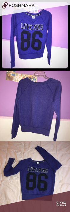 Pink Victory Secret pull over sweatshirts Pretty blueish purple sweatshirt, extra small , but Victory Secret pink size ran big, wore once, great shape Sweaters Crew & Scoop Necks