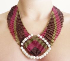 thick costume olive red and brown micro macrame necklace with small aquamarine gemstone beads
