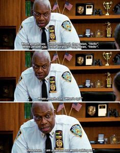 """When he translated some common greetings. 23 Times Captain Raymond Holt Was The Greatest Part Of """"Brooklyn Nine-Nine"""" Movies Showing, Movies And Tv Shows, Raymond Holt, Brooklyn Nine Nine Funny, Parks N Rec, Tv Show Quotes, College Humor, Book Tv, Lol"""