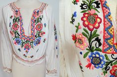 1920 fashion floral | Details about 1920s Vintage White Batiste Floral Embroidered Czech ...
