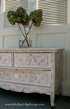 Pearl Inlay Inspired Dresser by Somewhat Quirky | Base is Emile Chalk Paint® by Annie Sloan with custom Chalk Paint® for the handpainted design.