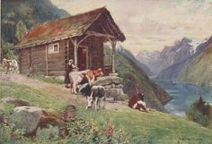 NORWAY Norge 1928: A Saeter. VETLEFJORD. Mountain pasture. Cattle. Old Print #Vintage