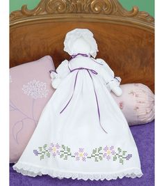 Stamped White Pillowcase Doll Kit-Starflowers