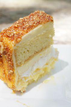 Lemon PralineTorte {Layers: Genoise, Lemon Curd, Italian & French Meringue, Lemon Buttercream, Hazelnut & Almond Praline)