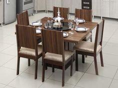 Conjunto de Mesa com 6 Cadeiras Estofadas - Dj móveis Armonia