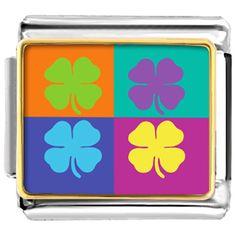 Italian Charms - colorful four leaf clovers italian charms bracelet link Image.
