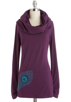 It's In My Nature Top in Peacock. Style comes naturally to you, as expressed by this plum, cowl-neck top by Synergy. #purple #modcloth