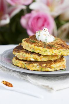 Savory Courgette Carrot and feta Single Serving Pancakes | Singly Scrumptious