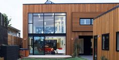 vertical and horizontal wooden cladding
