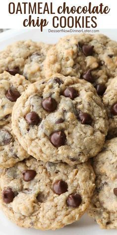 Oatmeal Chocolate Chip Cookies – Dessert Now, Dinner Later! These Oatmeal Chocolate Chip Cookies are thick, soft, and chewy, with plenty of hearty oats and creamy chocolate chips. An easy classic recipe. Healthy Oatmeal Cookies, Oatmeal Cookie Recipes, Chocolate Cookie Recipes, Oatmeal Chocolate Chip Cookies, Easy Cookie Recipes, Baking Recipes, Soft Cookie Recipe, Cookies With Oats, Raisin Cookies