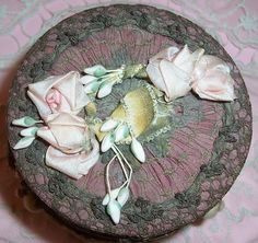 Large Antique French Textile Face Powder Box...Lame' Lace & Silk Ribbonwork Rosette/Rose Applique/Trim w/ Puff