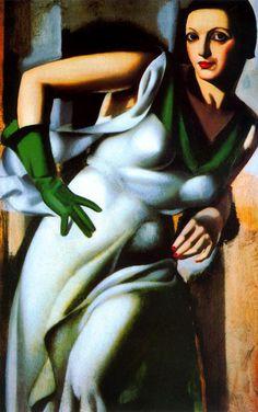 """Woman with a Green Glove"", 1928, by Tamara de Lempicka (Polish-American, 1898-1980)"