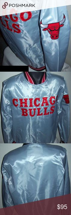"""CHICAGO BULLS Starter Spring/Summer SILVER Jacket NBA CHICAGO BULLS 2016 Satin STARTER Jacket (SUMMER/FALL EVENING STYLE: not polyfilled). Brand New with Tags: High quality polyester Satin Jacket with a snap up front and ribbed knitted cuffs, collar and waist band. The jacket has a polyester outer shell and the inside lining is soft polyester. The CHICAGO BULLS Lettering on the Front and BULLS Logo is meticulously sewn on. New with tags Measurements: Armpit to Armpit M: 23, XL: 26, 2X: 27.5"""" Established internet seller STARTER 2016 SPRING"""