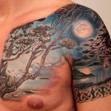 Tattoo tree on a full moon