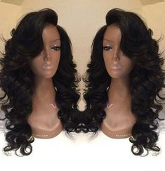 Side Bangs Wavy Long Wigs For African American Women The Same As Hairstyle In Picture - Wigs For Black Women - Lace Front Wigs, Human Hair Wigs, African American Wigs, Short Wigs, Bob Wigs Natural Hair Styles, Long Hair Styles, Natural Wigs, Natural Skin, Long Wigs, Short Wigs, Body Wave Hair, Wigs With Bangs, Weave Hairstyles