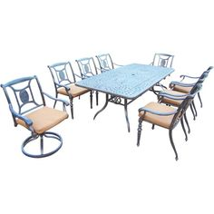 outdoor furniture patio dining set wicker rattan 7pc balcony