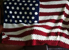 Free Crochet Pattern Of American Flag : Wavy American Flag - free crochet blanket pattern by Tracy ...