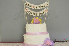 Our Story Begins Wedding Cake Topper Mini Bunting Banner Topping Shabby Vintage