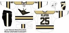 Concept for the Las Vegas Nighthawks. Potential name for the expansion team coming into the NHL in 2017-18. Road uniform