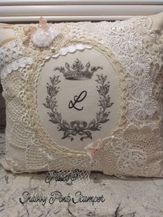 Embroidered Lace Pillow using The Graphics Fairy& Wreath with Crown Transfer Printable Patchwork Cushion, Muslin Fabric, Graphics Fairy, Linens And Lace, Antique Lace, Embroidered Lace, Decorative Pillows, Lace Pillows, Machine Embroidery