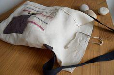 Sacchetto lino antico a rabat di Ruedescoquelicots su Etsy