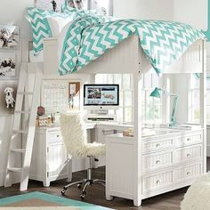 Beadboard Loft Bed, Simply White at Pottery Barn Teen - Kids Beds - Teen Girls Beds & Mattresses