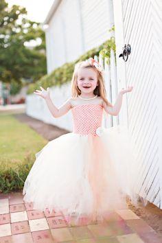 Newborn Size 9 Peach and Ivory Tutu Dress by krystalhylton