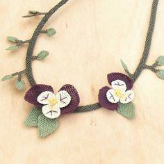 Turkish OYA Lace - Silk Necklace  - Viola