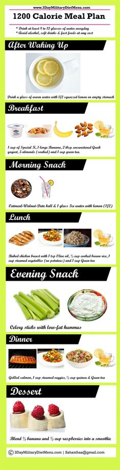 military diet four day off meal plan  follow 1200 calorie diet plan for additio