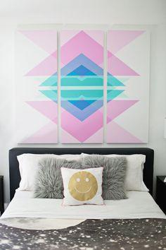 DIY: geometric art headboard panels