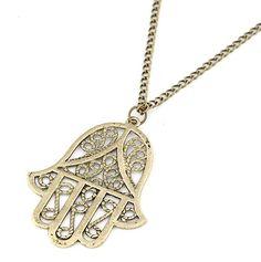 Retro Bronze Long Chain Hamsa Fatima Hand Pendant Charm Chain Necklace Jewish Judaica Kabbalah Jewelry