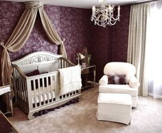 Glamorous Babys Room traditional kids- f2 DESIGNS- love the fabric draped behind crib